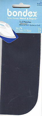 "BONDEX NAVY TWILL 5"" x 7"" IRON ON MENDING PATCHES (2 Pc),Clothing, Repair, Mend"