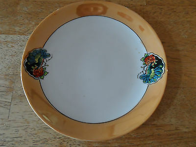Lustre Plate - Orange Rim with Peacock and Flower - Stamped Made in Japan