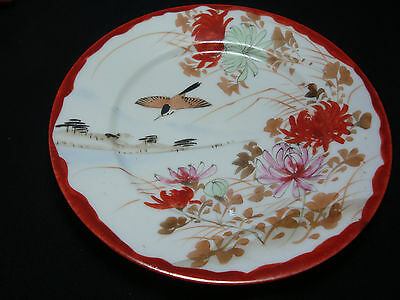 ANTIQUE KUNTANI JAPANESE HAND PAINTED RED TRIM PLATE BIRD AND CHRYSANTHEMUMS