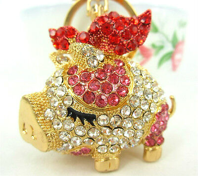 Fly Red Wing Butterfly Pig Lovely Fashion Swarovski Crystal Purse Bag Key Chain