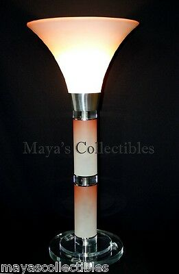 "Mid Century Modern Torchier Glass Lucite Table Lamp Hollywood Regency 31"" Tall"