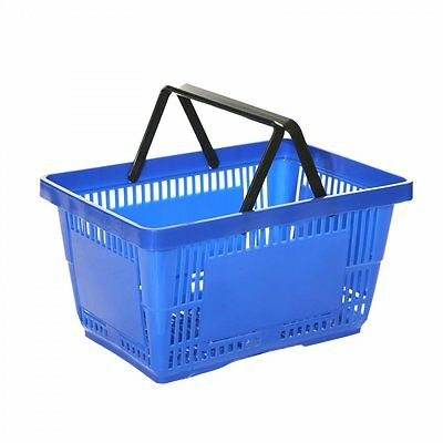 10x New Blue Supermarket Grocery Shopping Basket DIY 28 Litre Retail Basket