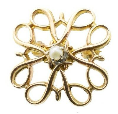 10K Solid Yellow Gold Pin Brooch Vintage Christmas Seed Pearl R Avon Award