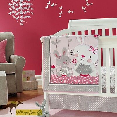 New Baby Girls 7 Pieces Cotton Nursery Bedding Crib Cot Sets-- Pink Rabbit Bunny