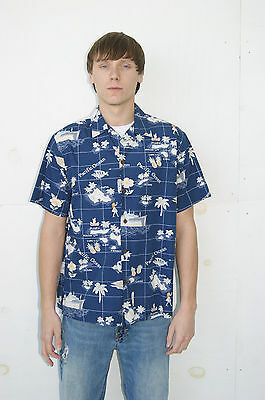 Vintage Vtg 80's 100% Cotton Men's Hawaiian Shirt by RJC- Made in Hawaii -Large