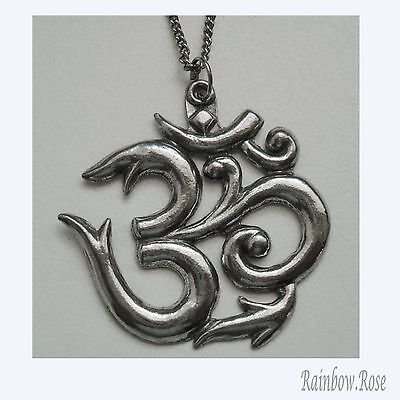 Pewter Necklace on Chain #339 Om Aum 40mm Symbol of the Absolute HINDU Spiritual