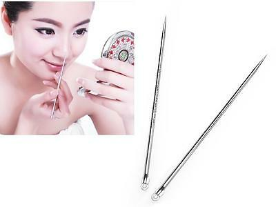HOAU 3 Pcs Silver Blackhead Comedone Remover Acne Blemish Pimple Extractor Tool