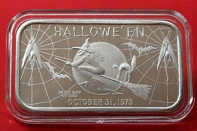 "1973 Halloween "" Witch on Broom "" 1 oz  999 Fine Silver Art Bar Madison Mint"