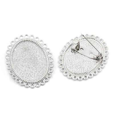 """wholesale Brooches Findings Cabochon Setting Oval Flower Silver 1 3/8""""x1 1/8"""""""