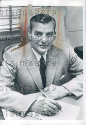 1954 Herbert Hoover Jr Son of US President at His Desk n State Dept Press Photo