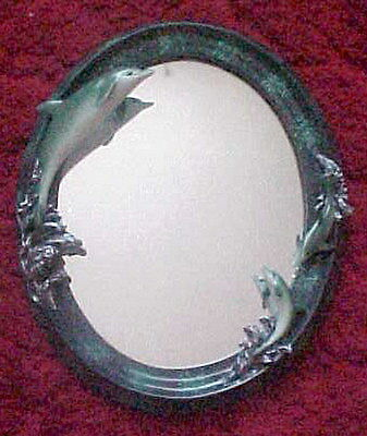Gorgeous New Nautical Dolphins Mother & Babies Oval Mirror, Excellent Cond.