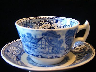 Wood & Sons Woodland Series Blue White China Cup and Saucer