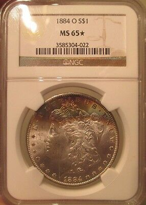 1884 O Silver Morgan Dollar NGC MS 65 Star Monster Rainbow Luster Toned Toning