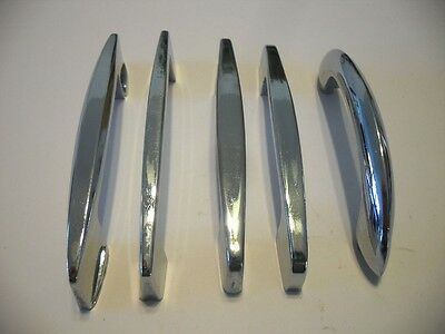 Lot of 5 Vintage CHROME Drawer or Cabinet Door Pulls Handles 5 Different Sizes