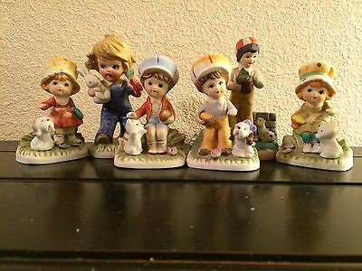 Set of 6 - Homco Porcelain Figurines - Young Children with Pets