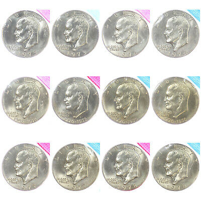 1973-1978 P D Eisenhower BU Ike Dollars US Mint Cello Run Lot 12 Coin Set