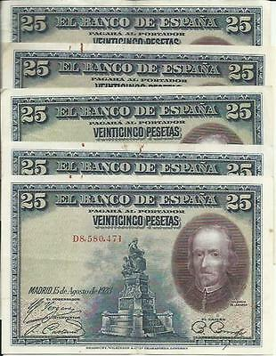 SPAIN LOT 5x  50 PTAS 1928 XF+ SCARCE IN THIS CONDITION