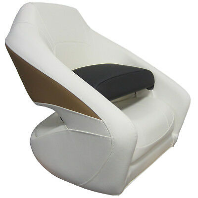 Larson LX Boat New Low Back Bucket Captain Chair Bolster Seat White/Tan/Grey