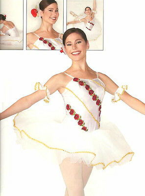 ROSE White w/Roses Gold Trim & Cuffs Ballet Tutu Christmas Dance Costume Adults