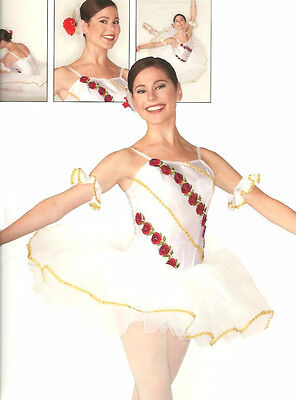Rose Dance Costume White w/Roses Gold Trim-Cuffs Ballet Tutu Christmas Adult 18