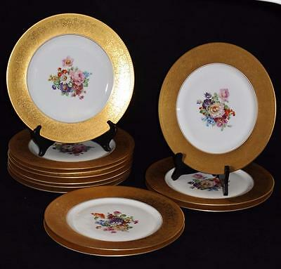 Set of 12 Heinrich Co, H & C Bavaria Chargers Gold Encrusted Rim, Floral Centers