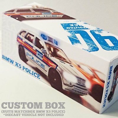 CUSTOM UNIQUE BOX ONLY |  BMW X5 POLICE | 1:64 DISPLAY | SUIT Matchbox #90