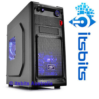 DEEPCOOL SMARTER BLACK MINI ATX  ITX COMPUTER CASE 2x BLUE LED FANS USB 3.0 NEW