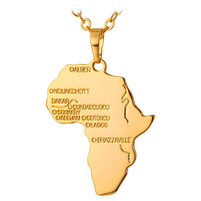 Africa Map Continent Pendant Hip Hop Necklace Gold Plated Vintage Unisex Jewelry