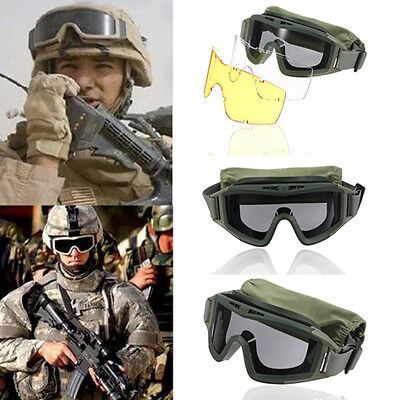 CS Tactical Airsoft SWAT Goggle Glasses Eye Wear Protection Mask Lunette 3 Lens