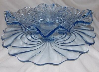 Cambridge Caprice Moonlight Blue Oval 4-Toed Handled Console Bowl & Torte Plate
