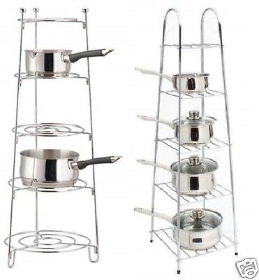 5 Tier Chrome Saucepan Pot Frying Pan Storage Stand Rack Holder Kitchen Shelf