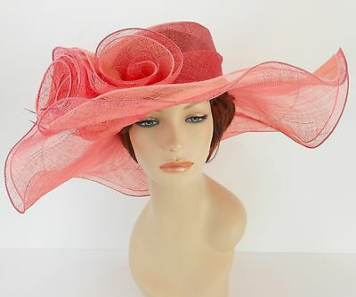 New Church Derby Wedding Party Sinamay 2 Layers Dress Hat 1765 Pink / Light Pink