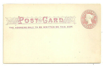 Great Britain Qv 1/2D Pink Sto 'fancy' Postcard Unused In Red