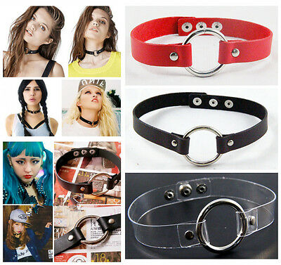 Gothic Punk PU Leather Clear PVC Choker Necklace O Ring Circle Pendant Collar
