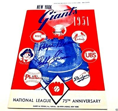 Signed by-R.Branca & B.Thomson Repro of 1951 NY Giants Program&Score Card