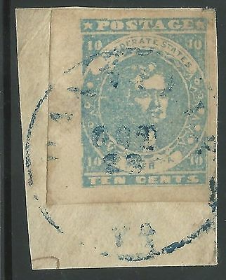 CSA Scott #2 Pos 91 Sheet Margin Paterson Used Confederate Stamp Piece Blue CDS