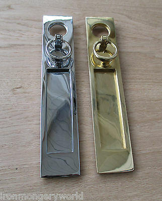 Heavy Sprung Solid Brass Letter Box Postal Plate Cover Victorian+ Door Knocker