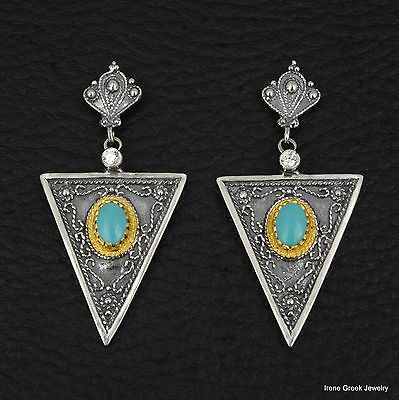 Rare Turquoise Byzantine 925 Sterling Silver & 22K Gold Plated Greek Earrings