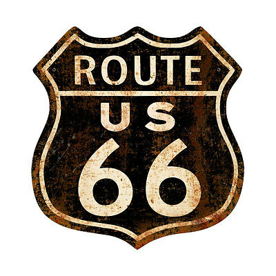 "Black Rusty Rusted Route 66 Vintage Style Retro Steel Street Metal Sign 15""x15"""