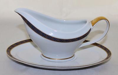 Philippe Deshoulieres FRANCE Gravy Boat & Plate, Blue Gold Scrolls Limoges IP45