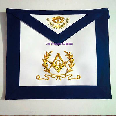 Master Mason Blue Lodge Apron Golden  Bullion with Lux Wreath Fraternal Regalia