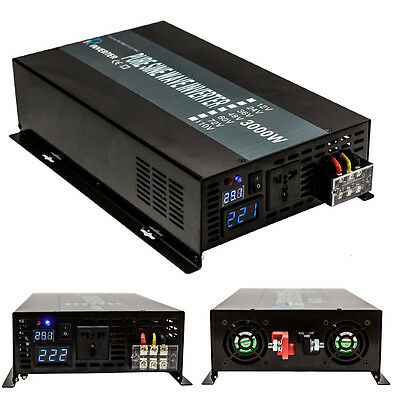 3000W Car Power Inverter 12V/24V dc to 120/220V ac Pure Sine Wave Inverter Solar