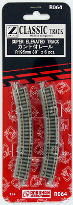Rokuhan R064 R195mm 30º Curved Super Elevated Track 6 pcs. (1/220 Z Scale)