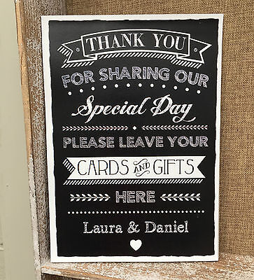 Personalised Cards & Gifts Here Table Sign Chalkboard Style Wedding Print Decor