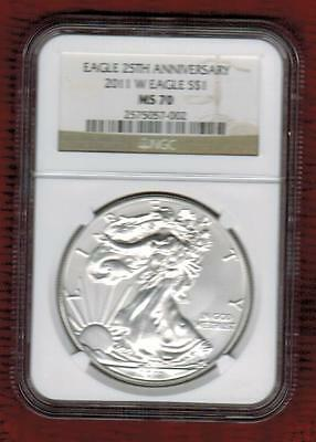 2011 W Silver Eagle  Uncirculated Ngc Graded Ms70 From 25Th Anniversary Set