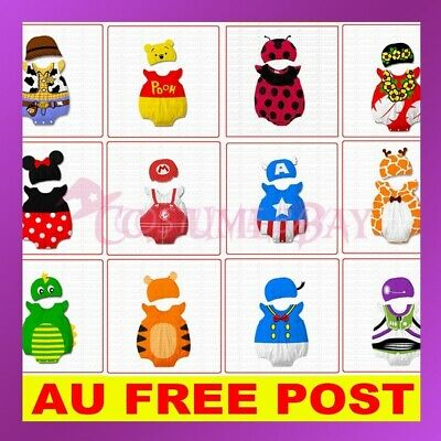 New Baby Boys Girls Animal Cattoon Costume Bodysuit Outfit Romper Cloth Set Hat