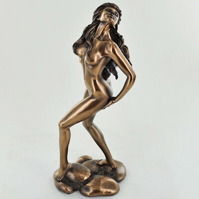 Female Erotic Bronze Statue Standing Sculpture Naked Lesbian Nude H24cm 31008