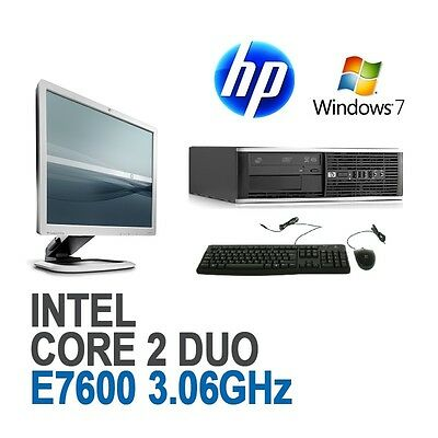 "HP Core 2 Duo Desktop Computer PC 4GB 160GB HDD Windows 7 Pro 19"" Monitor WiFi"