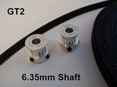 3D Printer GT2 Timing Belt and Pulleys 20 Teeth 6.35mm Shaft - for Nema 23 24