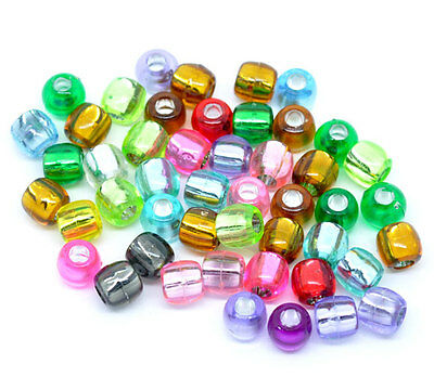 300 Mixed Multicolor Crafts Foil Pony Beads 7x7mm Jewelry Making